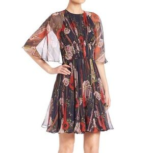 Jason Wu floral poppy cape silk dress 2